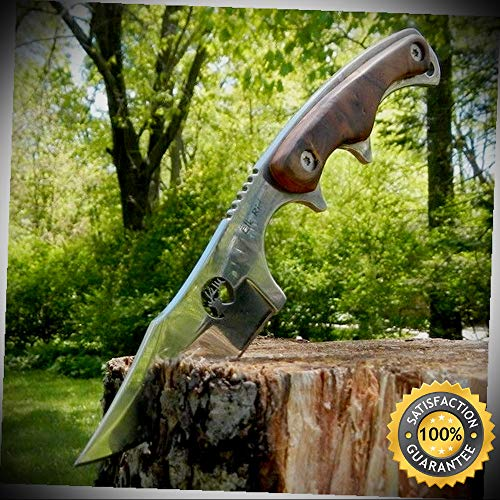 (7'' ELK RIDGE Hunting Skinning FIXED BLADE Sharp Knife Survival Wood with SHEATH - Outdoor For Camping Hunting)