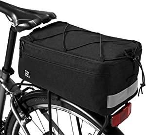 Lixada Insulated Trunk Cooler Bag for Warm or Cold Items, Bicycle Rear Rack Storage Luggage, Reflective Cycling MTB Bike Pannier Bag, 8L