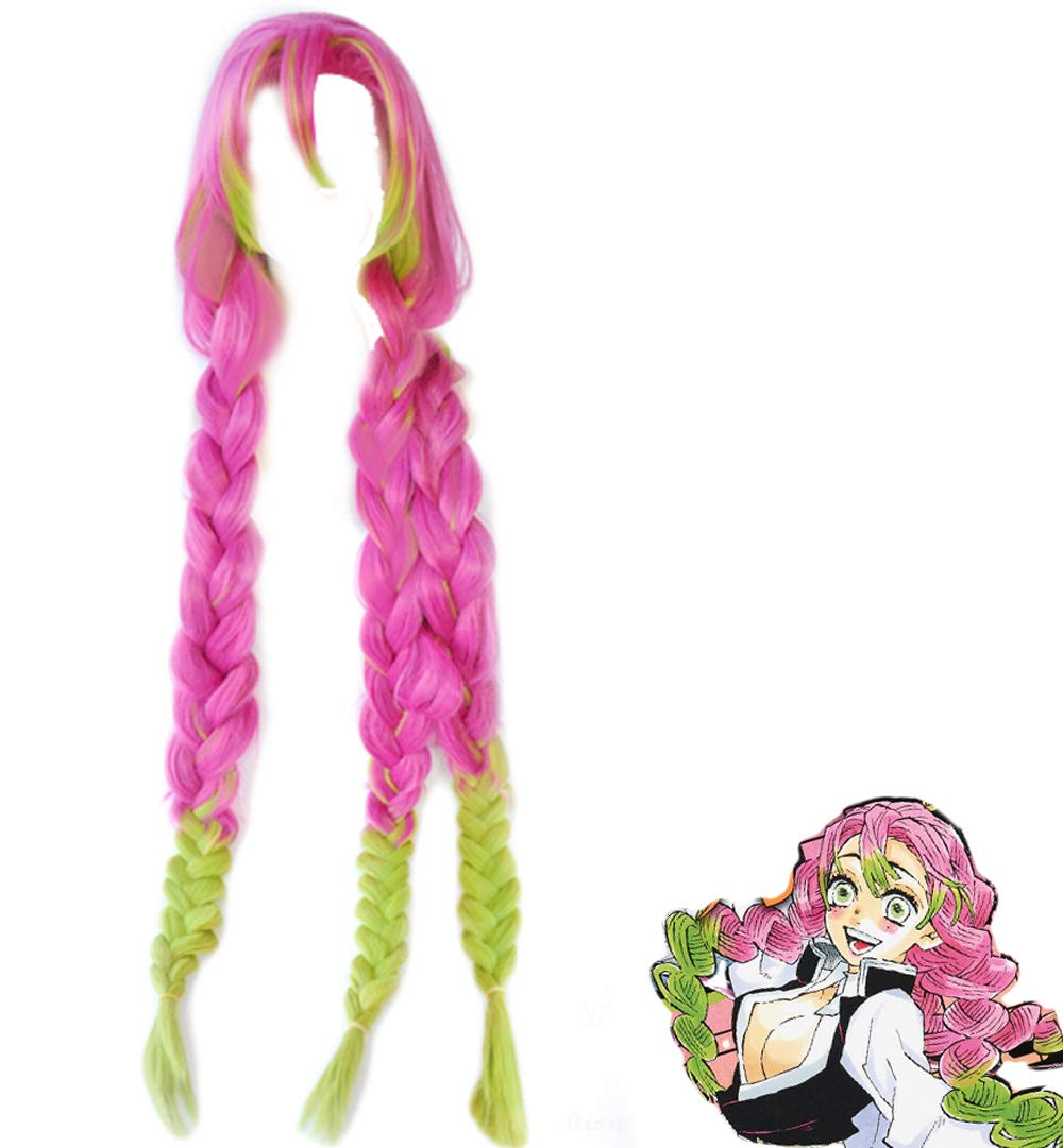 Demon Slayer Wig Kanroji Mitsuri Cosplay Costume Accessories Pink Green Long Wigs Ponytail Japanese Anime by Coslive