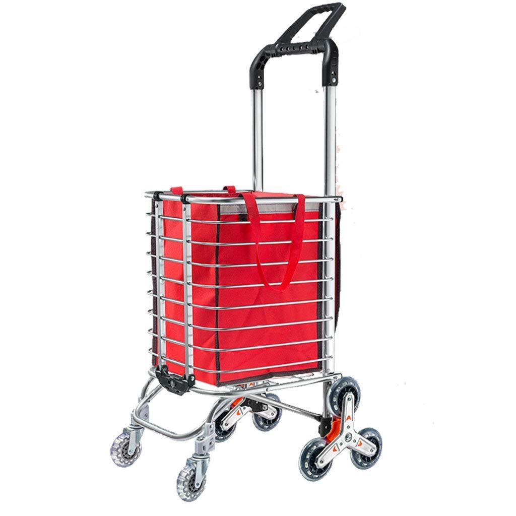 トロリー多機能のショッピングカートのアルミフレームの折りたたみのスーパーマーケットの買物のために適した携帯用無声小さいトレーラー,Red  Red B07QC2K4Q6