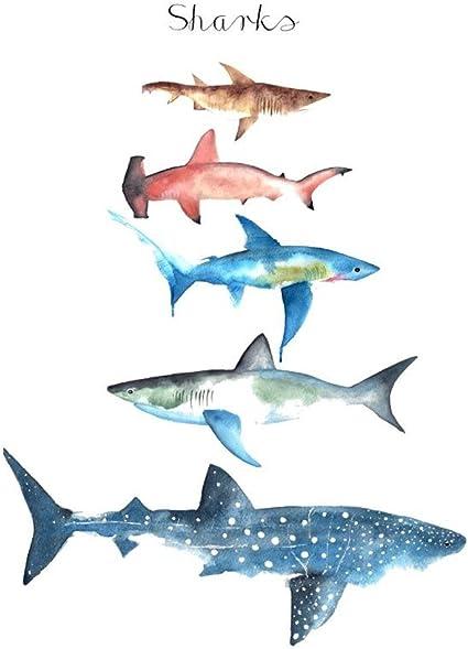 wyuen 12 pcs/lot tiburón ballena temporal tatuaje Pegatina para ...