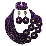 Africanbeads 4 Rows Crystal Handmade Statement Necklace Nigerian Wedding African Beads Jewelry Set