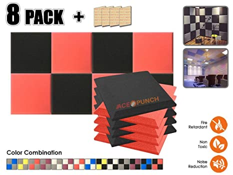 Acepunch 8 Paquete NEGRO & ROJO Bisel Plano Espuma Acústica Panel DIY Diseño Estudio Sonar Insulation