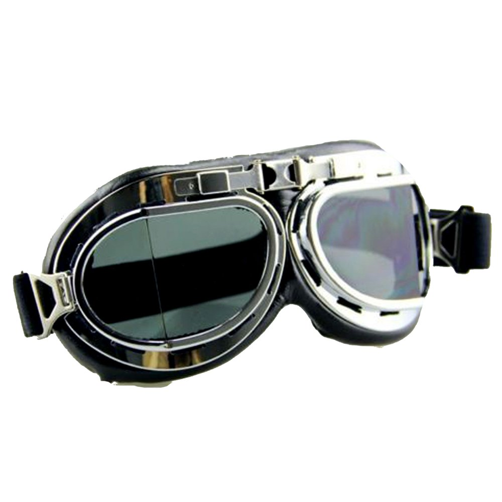 Amazon.com : STLY Vintage Pilot Style Motorcycle Cafe Racer Cruiser Touring Helmet Goggles Black Lens : Sports & Outdoors