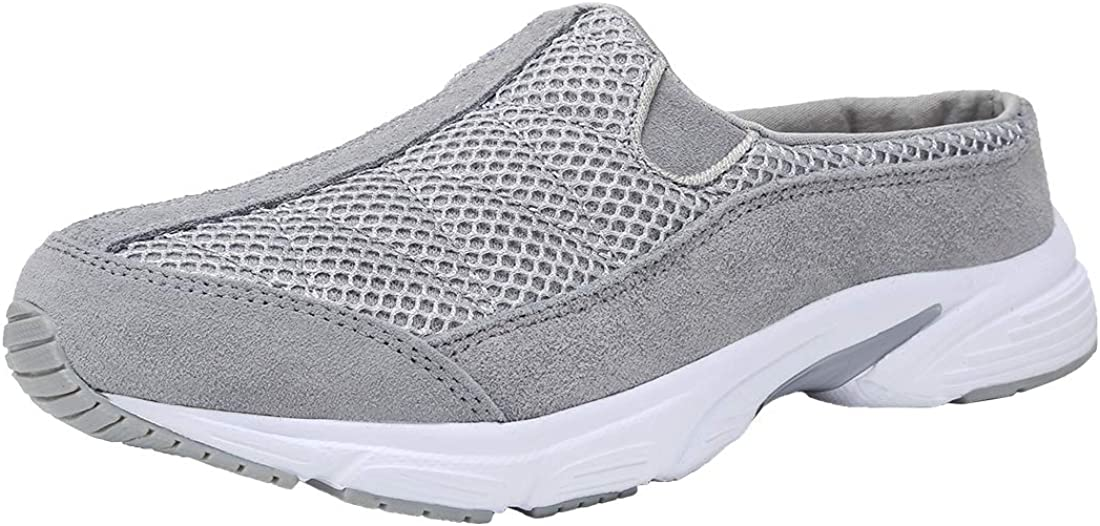 FANTURE Womens Mesh Breathable Casual Sneakers Clog Mule Ultra Lightweight Slip on Walking Shoes Genuine Suede Leather