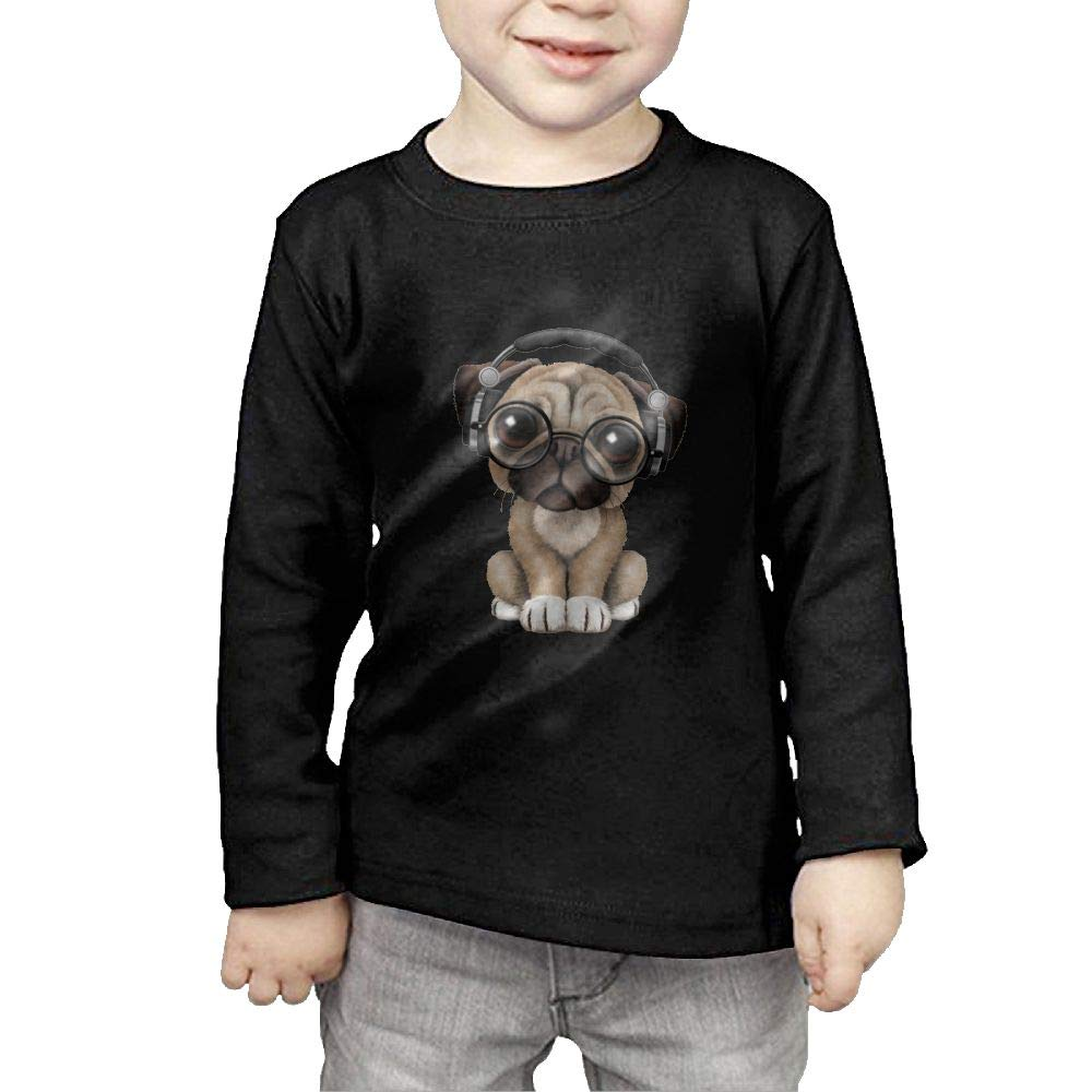 COTDREN KIDS Pug Sunglasses Headphones Boys' Youth Cotton Long Sleeve T-Shirts