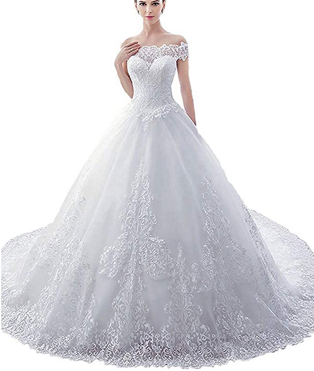 Rudina Womens Sweetheart Lace Corset Wedding Dress Long Train
