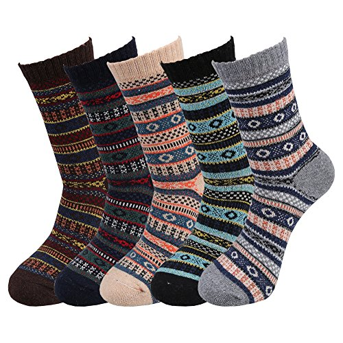 Fantastic Zone 5 Pairs Fashion Men Socks Winter Soft Warm Thick Knit Wool Crew Socks for Man
