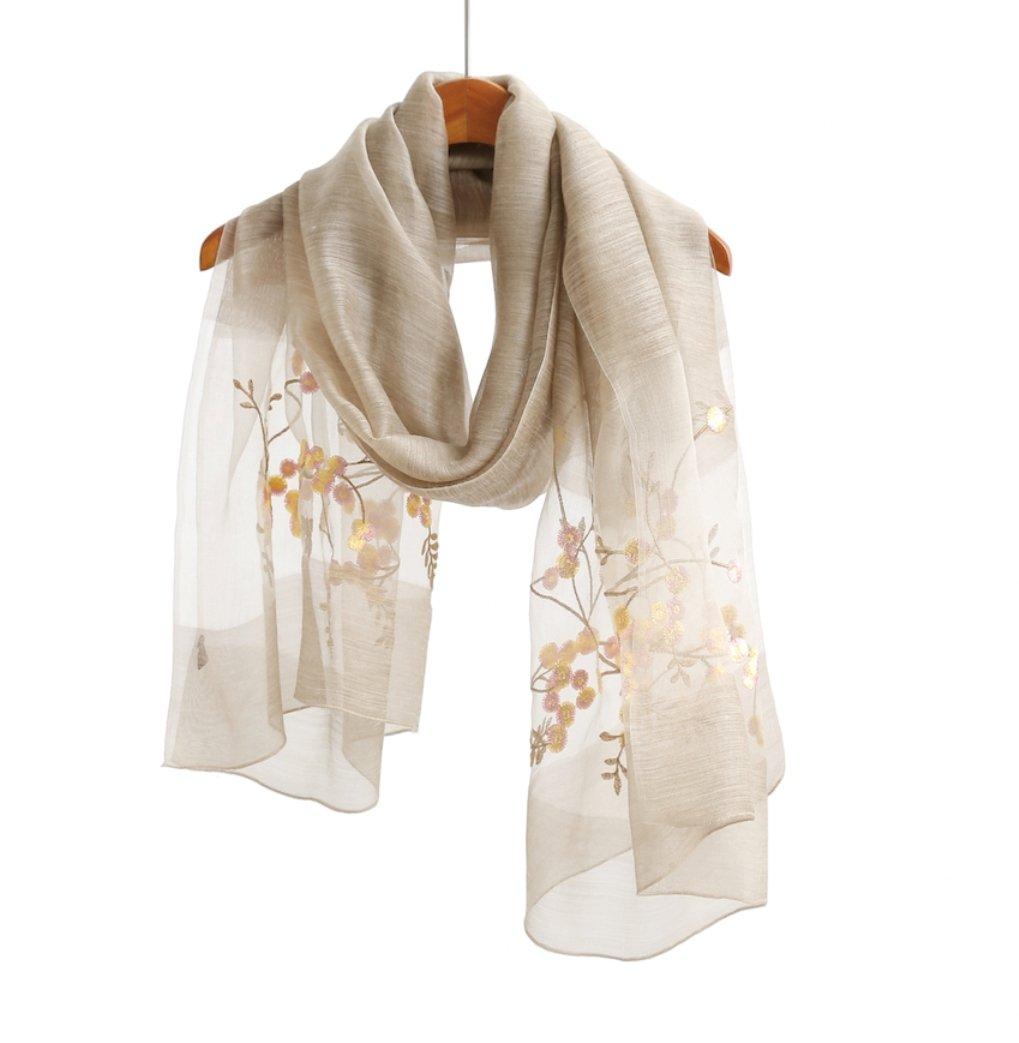 WS Natural Silk Scarf/Shawl/Wrap For Women Fashion Scarves (Beige Floral)