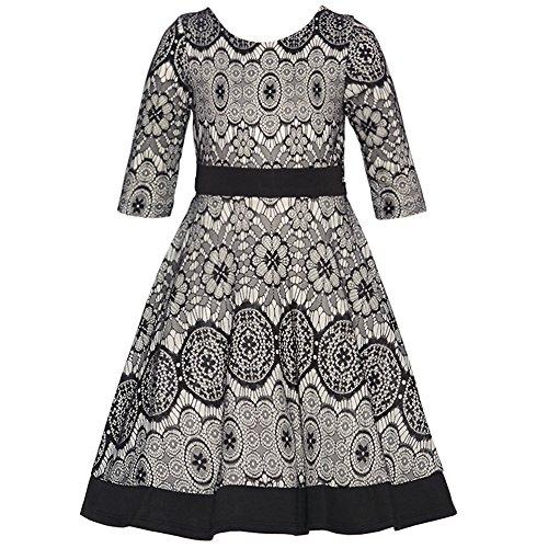 Rare Editions Big Girls Grey Black Floral Patterned Designer Dress 7 Rare Editions Spring
