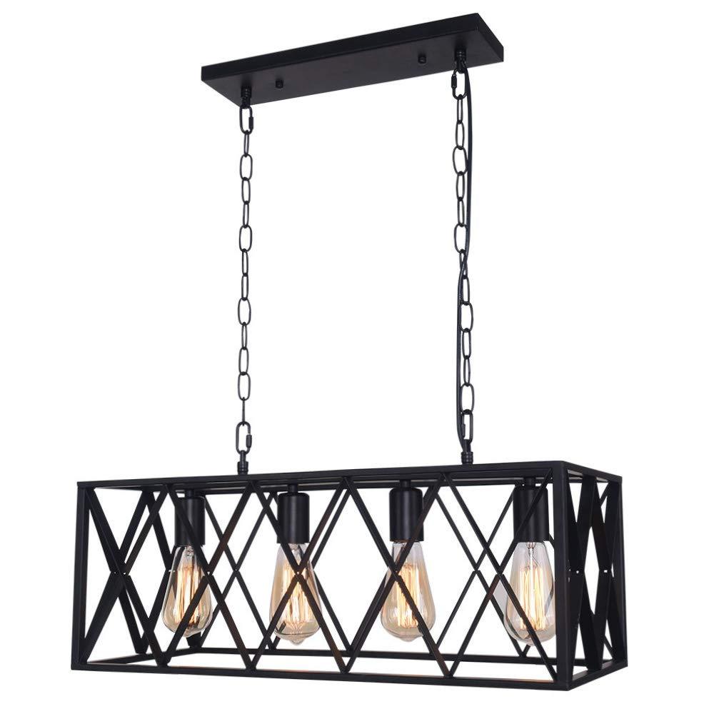 OYIPRO Industrial Kitchen Island Light, 4 Lights Chandelier Farmhouse Hanging Fixture Retro Ceiling Light Rectangular Rectangle Vintage Metal Caged Guard Pendant Lighting