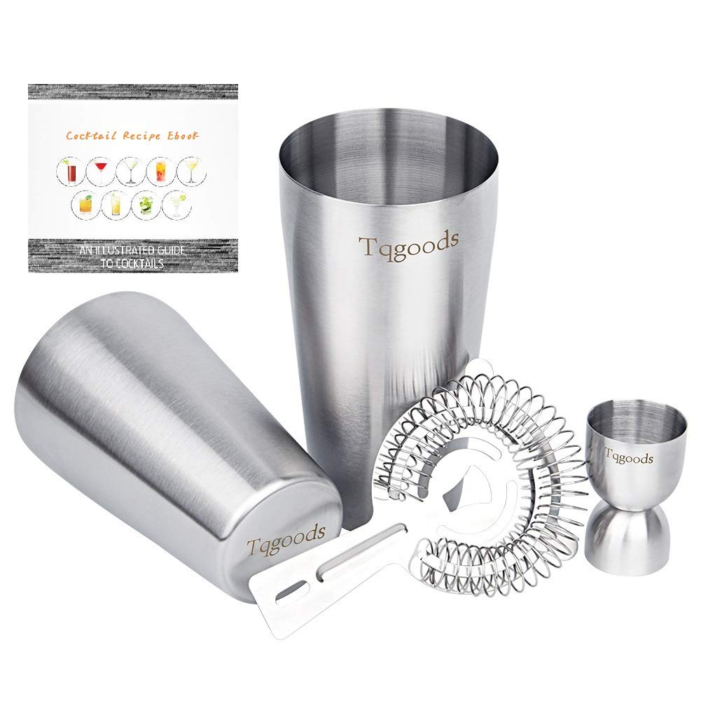 Cocktail Shaker Set: 4-piece Bar Set including Strainer and Measuring Jigger - 26 oz Weighted & 20 oz Unweighted Professional Bartender Boston Cocktail Shaker by Tqgoods