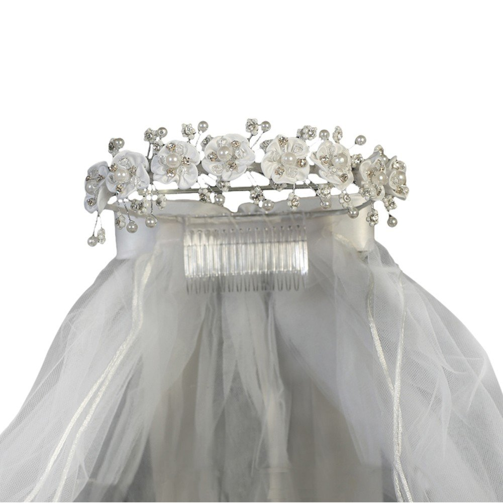 Lito Girls White Satin Flowers Rhinestones Headpiece 24'' Communion Veil by Swea Pea & Lilli (Image #1)