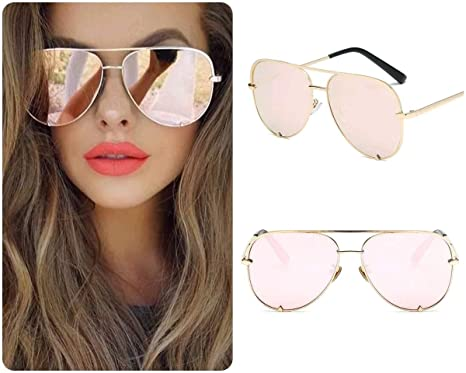 f74abaf6b ROSE GOLD Aviator Women Ladies Sunglasses Mirrored Cat Eye Reflective Retro  UK