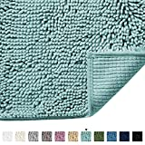 Microfiber Bath Rugs Chenille Floor Mat Ultra Soft Washable Bathroom Dry Fast Water Absorbent Bedroom Area Rugs, 17 x 24 - Inch, Duck Egg Shell Blue