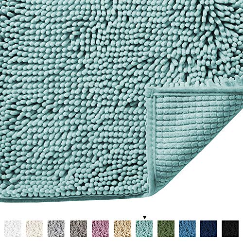 - H.VERSAILTEX Microfiber Bath Rugs Chenille Floor Mat Ultra Soft Washable Bathroom Dry Fast Water Absorbent Bedroom Area Rugs, 17 x 24 - Inch, Duck Egg Shell Blue