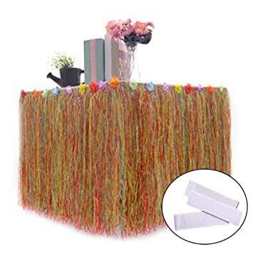 ilovecos hawaiian party decorations luau table skirt with hibiscus