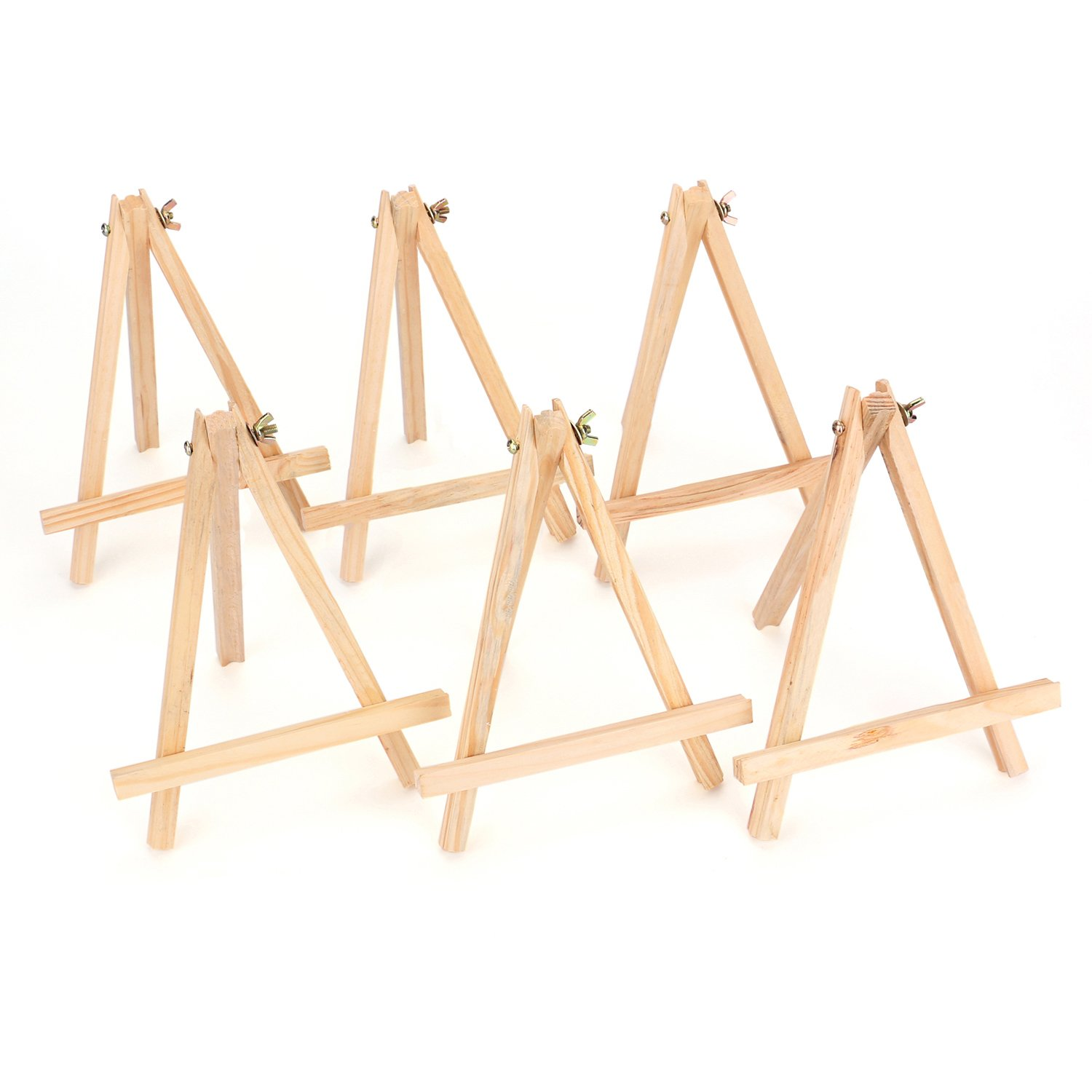 Tosnail 9'' Tall Natural Pine Wood Tripod Easel Photo Painting Display Portable Tripod Holder Stand, 6 Pack by Tosnail