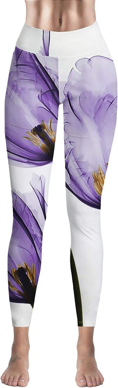 Womens High Waisted Yoga Pants Purple Tulip Flower Ultra Soft Lightweight Power Stretch Workout Leggings