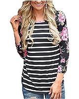 Women Color Block Floral Prints 3/4 Raglan Sleeves Tops Tee Shirt Casual Blouse