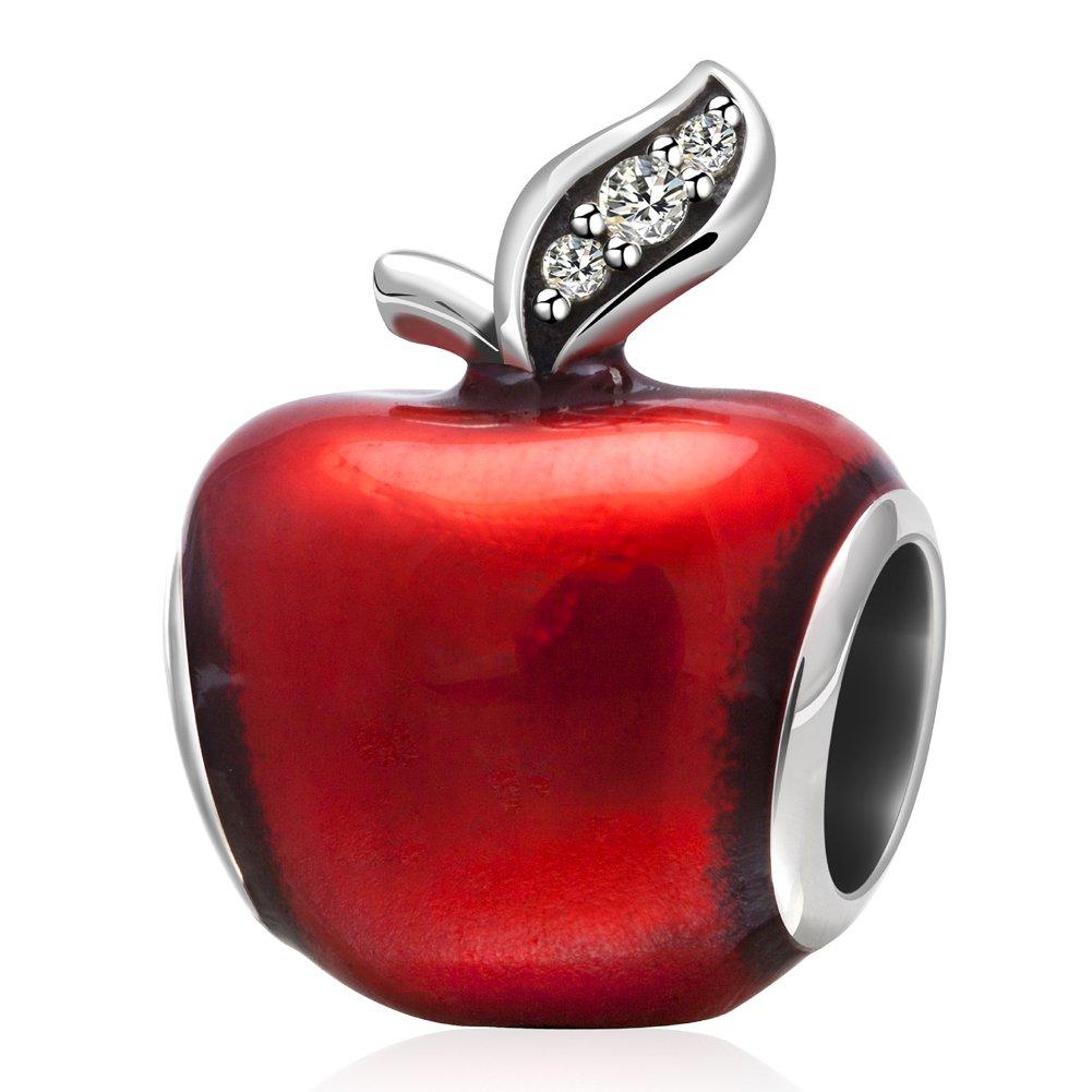 Soukiss Charms Breloque en forme de pomme de Noël en émail rouge et argent sterling 925 véritable avec petits oxydes de zirconium transparents pour la feuille PY