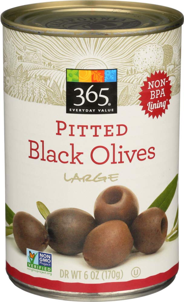 365 Everyday Value, Pitted Black Olives Large, 6 Ounce