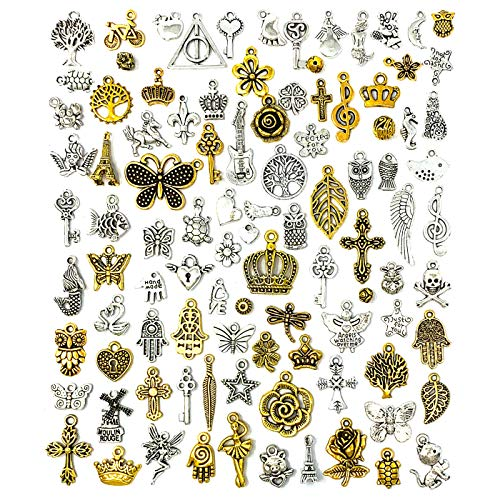 JIALEEY 100 PCS Wholesale Bulk Lots Jewelry Making Charms Mixed Antique Silver&Golden Alloy Charms Pendants DIY for Necklace Bracelet Jewelry Making and Crafting