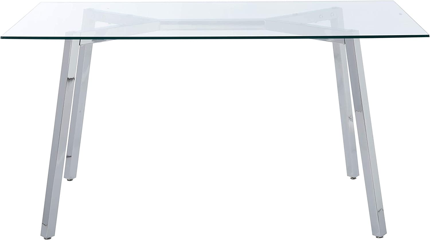 Christopher Knight Home Verna Tempered Glass Dining Table, Clear Chrome