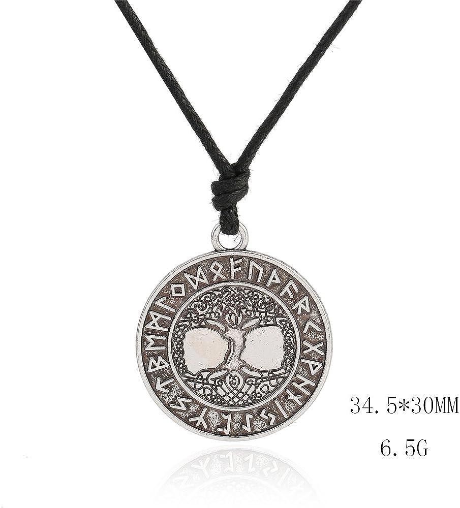 Pour homme et femme Collier talisman vintage Vassago Amulette viking Pendentif arbre de vie et rune futhark