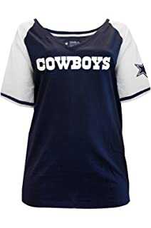 310ccab2959 Dallas Cowboys Womens Plus Size V-neck Contrast Sleeve T-shirt ...
