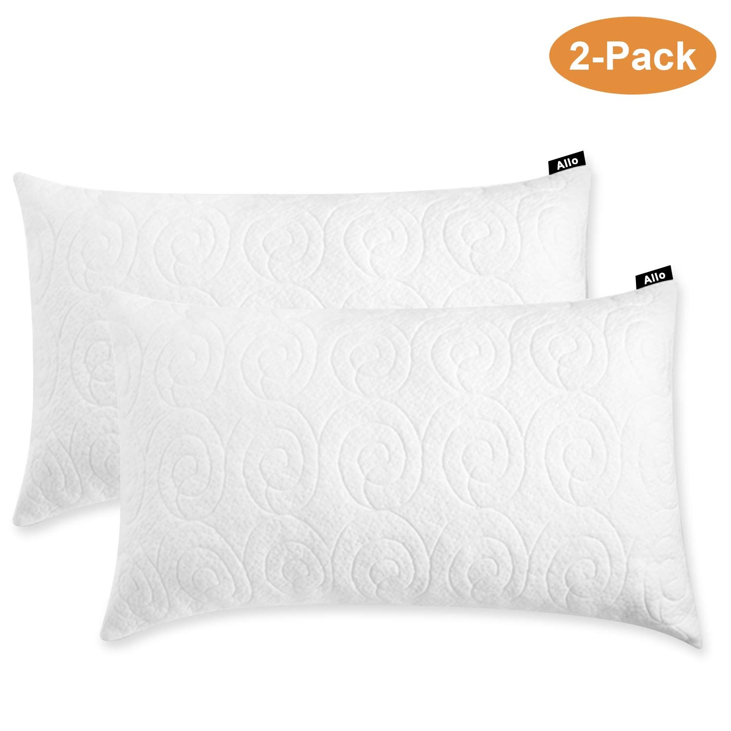 Allo Shredded Memory Foam Pillow, Adjustable Hypoallergenic Infused Fill Bed Pillow, Removable Bamboo Derived Rayon Cover - 2 Pack (King)