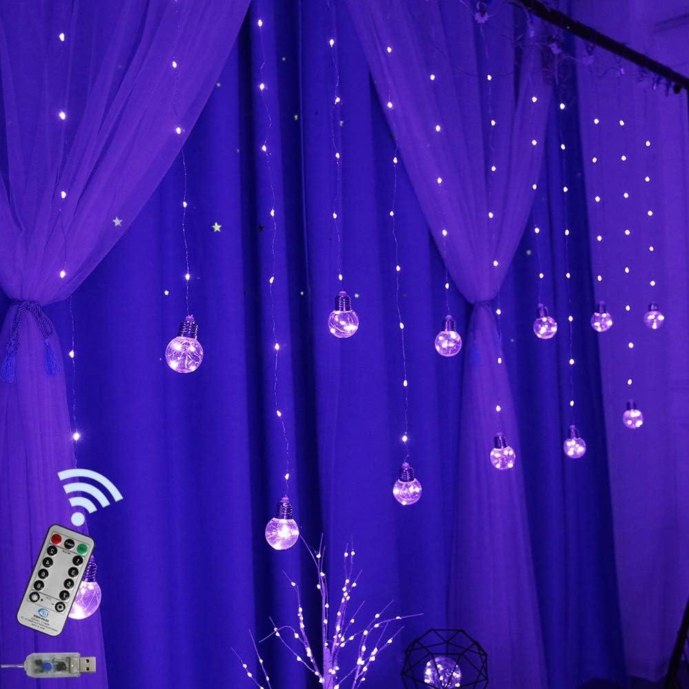 Obrecis LED Bulb Copper String Light, USB Remote Control Globe Window Light Fairy Lights for Patio, Garden, Home, Bedroom Decor (Purple)