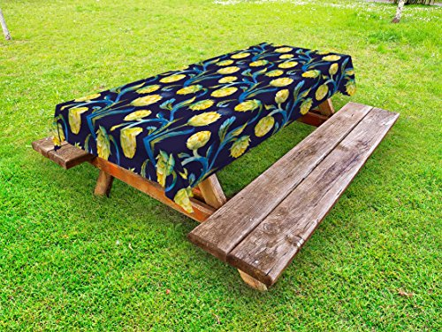 "Ambesonne Artichoke Outdoor Tablecloth, Watercolor Artichokes Abstract Color Scheme Art Nouveau, Decorative Washable Picnic Table Cloth, 58"" X 84"", Blue Yellow"