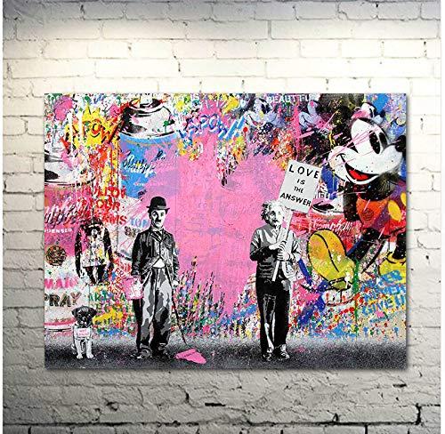 Faicai Art Banksy Graffiti Street Art Pop Art Chaplin & Einstein Pink Canvas Paintings 'Love is The Answer' Wall Art Prints Posters Modern Home Decorations Kids Room Wall Decor Wooden Framed 32