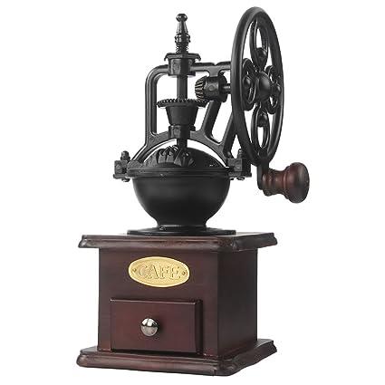 Molinillo de café manual Hierro fundido antiguo Manivela Molinillo de café con ajustes de molienda y