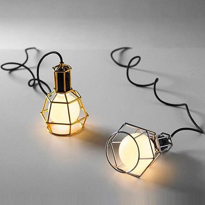 Nclon Industrial Vintage Retro Lámpara de techo,Metal cage Lámpara colgante Comedor Lámpara colgante E27 Enchufe Exclud de la bombilla-B-3-Lights: ...