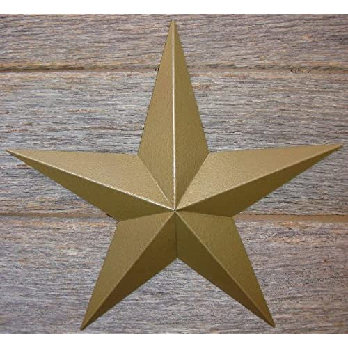 10 Inch Heavy Duty Metal Barn Star Painted Hammered Gold.