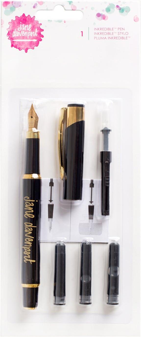 Jane Davenport ~ INKredible Fountain Pen ~ 3 Black Ink Cartridges /& 1 Converter