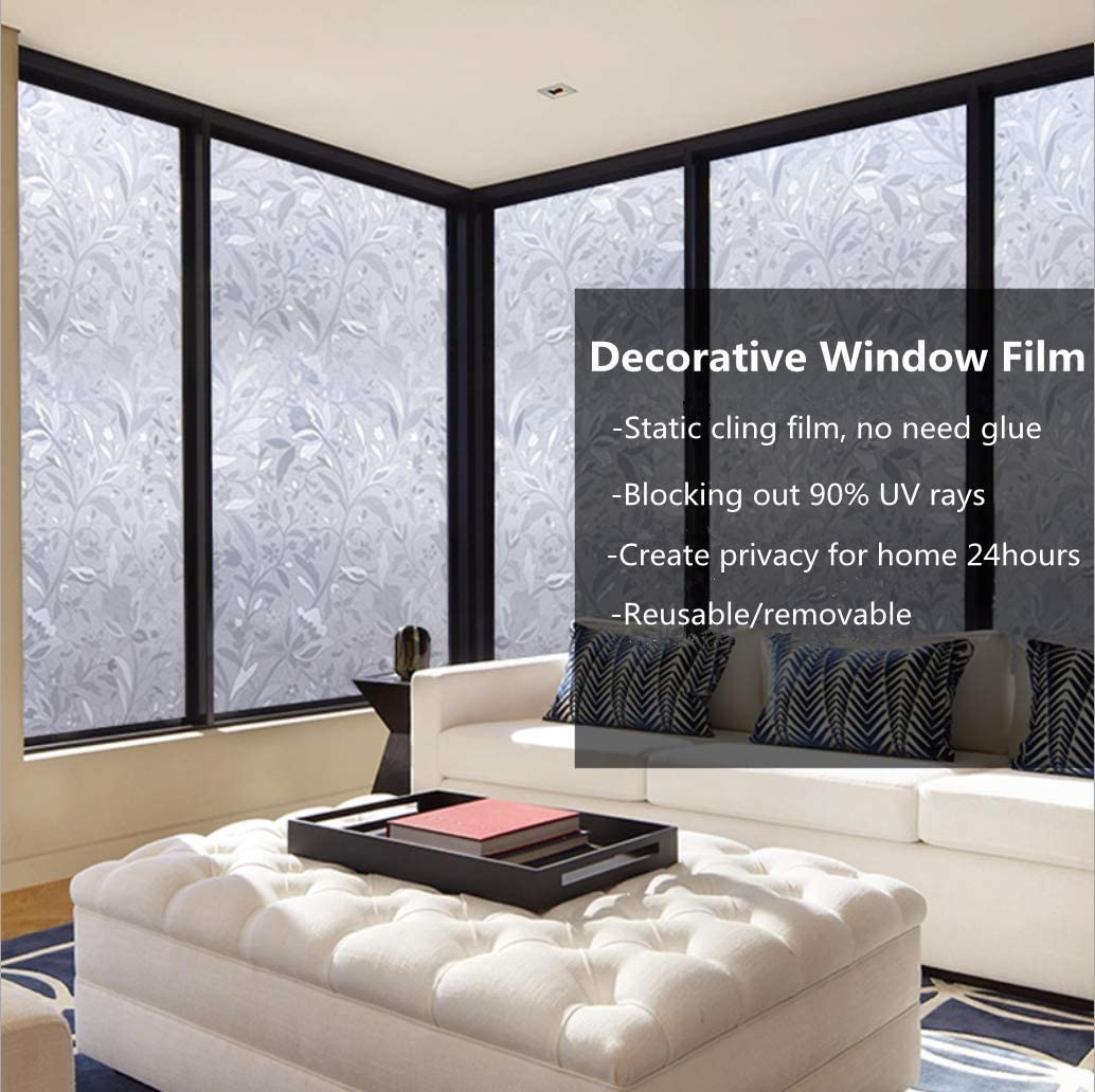 Details about  /WINDOW FILM Privacy Door Static Cling Flower Anti UV Glass Tint Decor By AIBILY