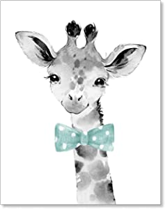 Safari Zoo Nursery Wall Art Decor - Boy Girl Baby Giraffe Animal Gender Neutral Picture for Kids - 11x14 Unframed Artwork Print