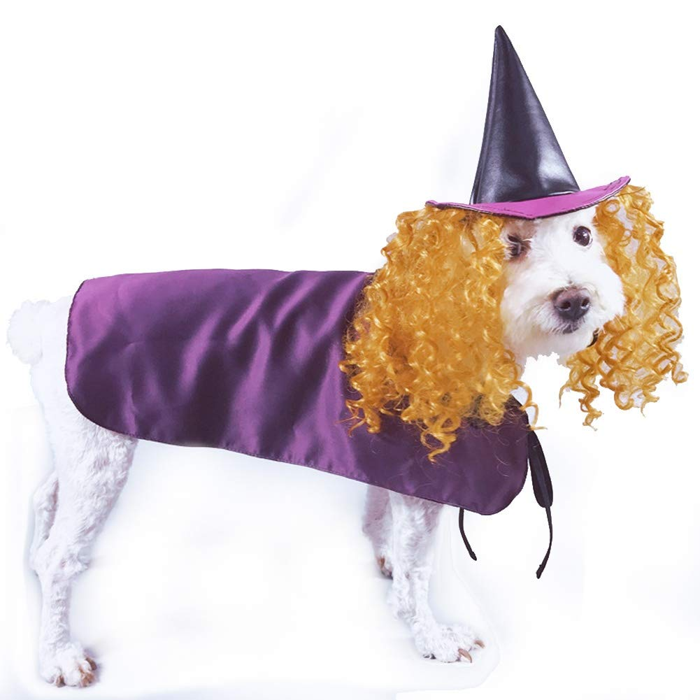 Small Coppthinktu Witch Dog Costume Pet Halloween Fancy Purple Cloak with Hat and Wig