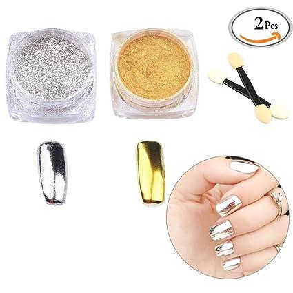 Travelmall - Juego de 2 cajas de pigmento para uñas efecto espejo, color