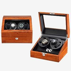 Watch Winder,Cajas giratorias para Relojes Caja de enrollador de Reloj automático para 4 + 6 Relojes con Caja de presentación Motor silencioso 5 Modos de rotación 100% Hechos a Mano (Color : B): Amazon.es: Relojes
