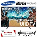 "Samsung UN82NU8000FXZA Flat 82"" 4K UHD 8 Series Smart LED TV (2018), 50 Netflix Gift Card, Wall Mount, 2 HDMI Cables"