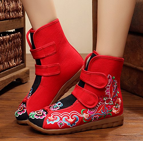 Avacostume Womens Floral Embroidery Old Oxford Oxford Flats Velcro Boots Scarpe Rosse