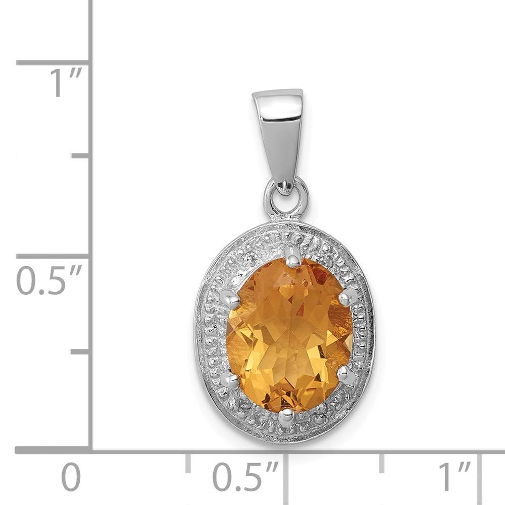 Sterling Silver Citrine Diamond Pendant Solid 11 mm 19 mm Diamond Pendants /& Charms Jewelry