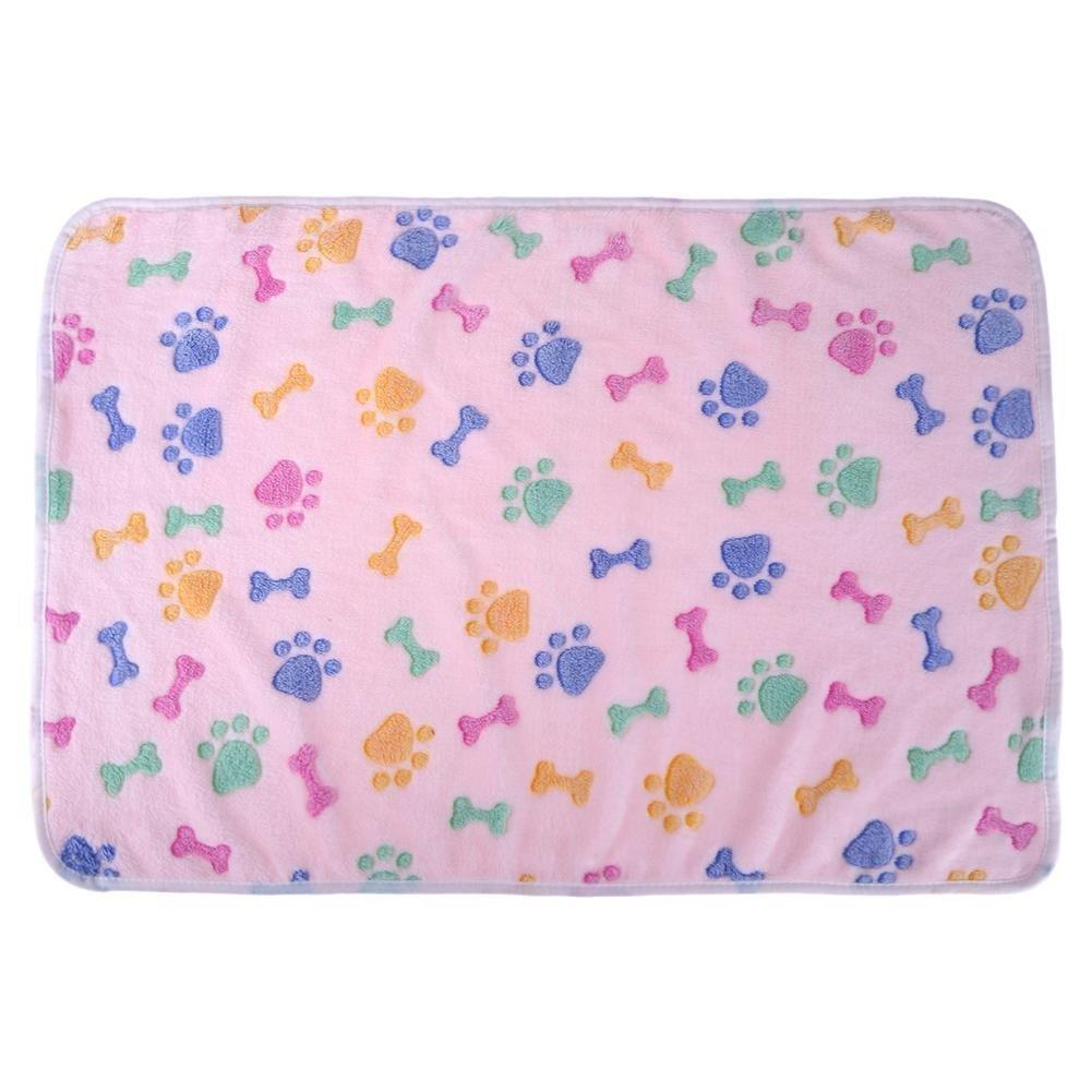 Perfect Pet Bed Supplie Warm Soft Coral Velvet Pet Blanket Sleep Mat Dog Bed Puppy Cushion(Pink L)