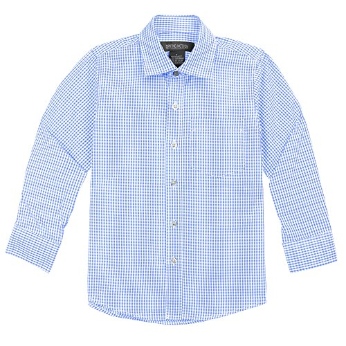 Spring Notion Baby Boys' Long Sleeve Gingham Shirt 2T Light Blue