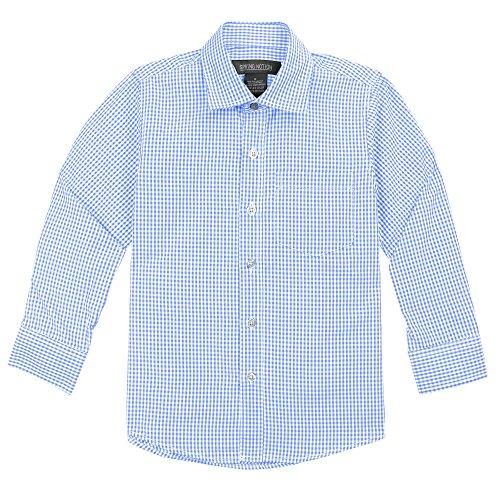 Spring Notion Baby Boys' Long Sleeve Gingham Shirt 2T Light Blue