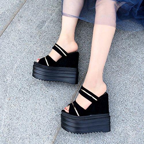14 plano centimetros negro zapatillas de sandalias con fondo 2 9908 XiaoGao RqFBAww